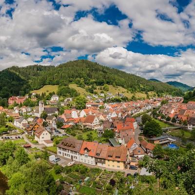 Blick auf Wolfach im Kinzigtal, Schwarzwald